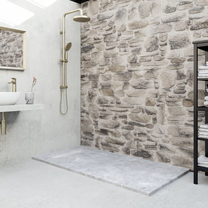 Cement, humble materials lending finesse to a bathroom, space